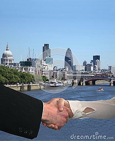 Handshake with London skyline