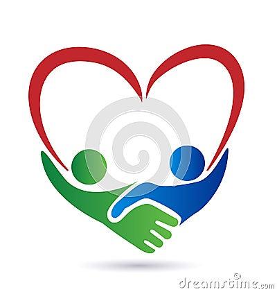 Handshake Love Symbol Logo People Heart Union Concept Vector Icon Stock Teamwork Hands