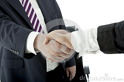 Handshake of man and woman