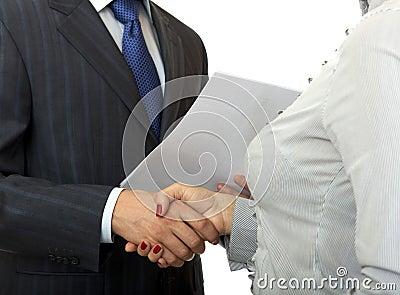 Handshake man and women.