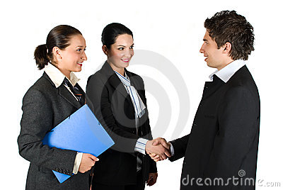Handshake and meeting business people
