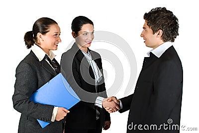Handshake and meeting business people