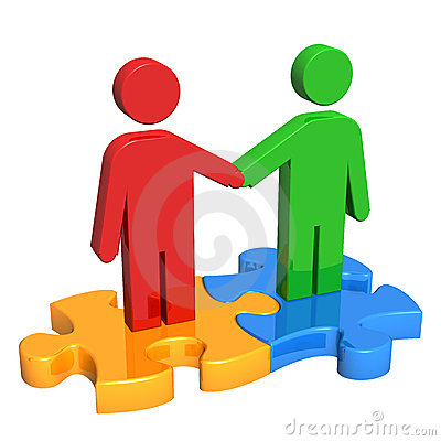 Handshake on Puzzle Pieces