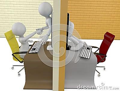 Handshake through screens of laptops