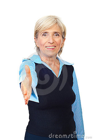 Handshake senior business woman