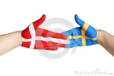 Handshake between sweden and denmark