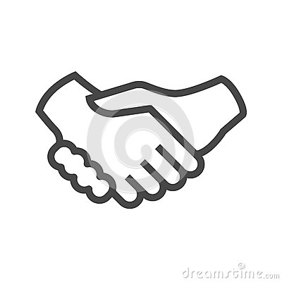 Handshake Thin Line Vector Icon Vector Illustration
