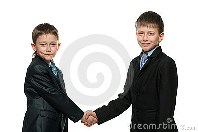 Handshake of two schoolboys