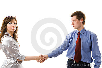 Handshake. The union of Young business people