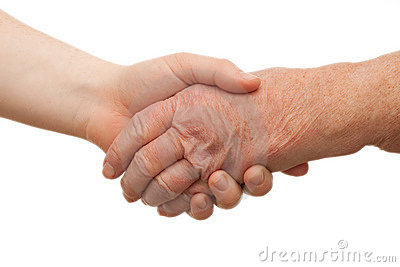 Handshake - between young and old  females