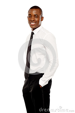 Handsome african corporate man posing casually