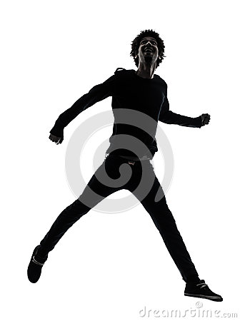 Handsome african young man jumping  silhouette