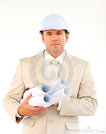 Handsome architect holding blueprints