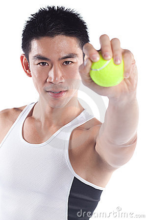 Handsome athletic chinese sportsman, tennis ball