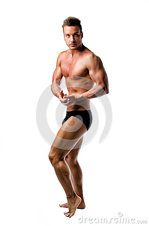 Free Handsome Athletic Young Man In Bodybuilder Pose, Isolated Stock Photos - 34341333