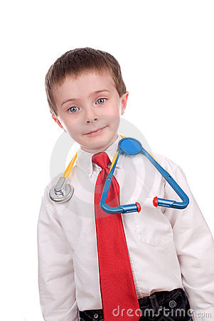 Handsome attractive young boy dressed as a Doctor-
