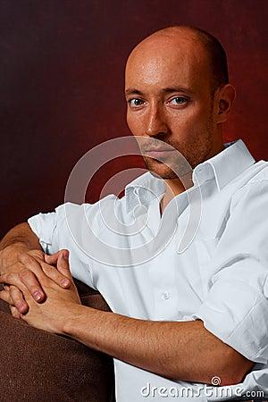 Handsome bald guy white shirt