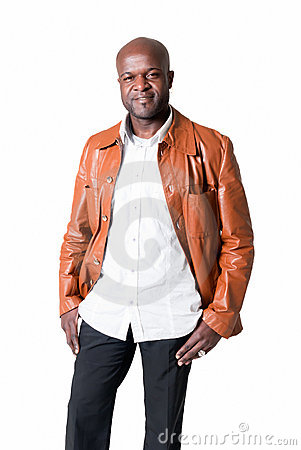 Handsome black man with leather jacket isolated