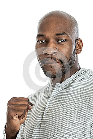 Handsome black man making a fist