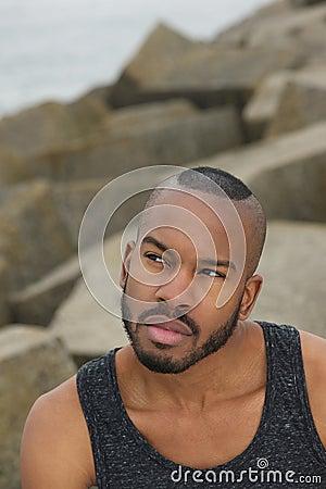 Handsome black man outdoors