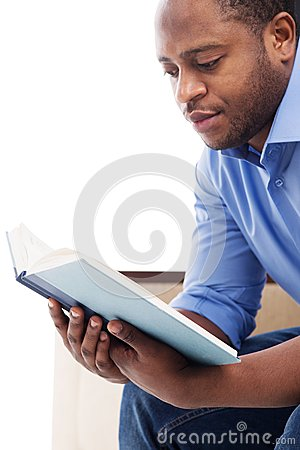 Idea black man reading think, that