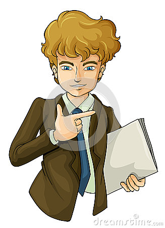A handsome business icon holding a binder