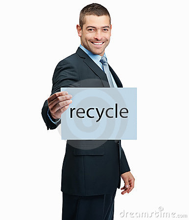 Handsome business man holding a recycle sign board