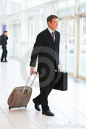 Handsome business man holding a suitcase and bag