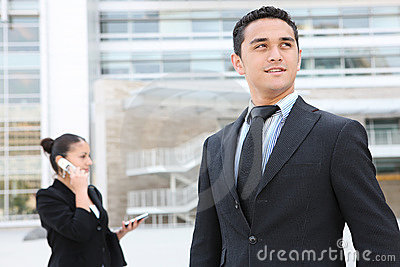 Handsome Business Man at Office Building