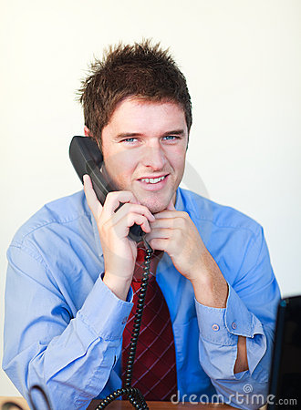 Handsome business person  talking on the phone