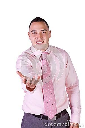 Handsome Businessman Extending His Empty Hand