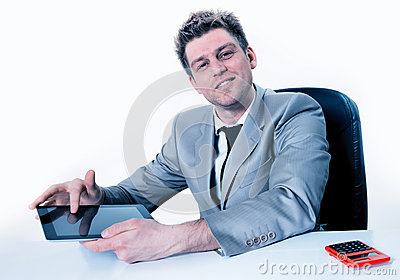 Handsome businessman hands are pointing on touch screen device