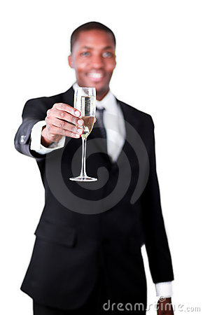 Handsome businessman holdng a glass of champagne