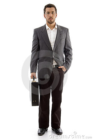 Handsome businessman standing with his office bag