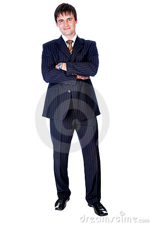 Handsome businessman standing up straight