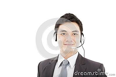 Handsome businessman wearing headset