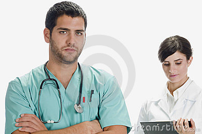 Handsome doctor and pretty nurse