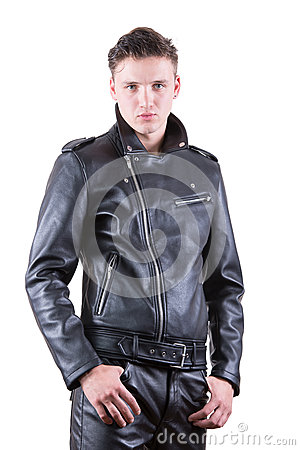 Free Handsome Fashion Man, Beauty Male Model Portrait Wear Black Leather Jacket And Pants, Young Guy On White Isolated Background Stock Images - 78093034