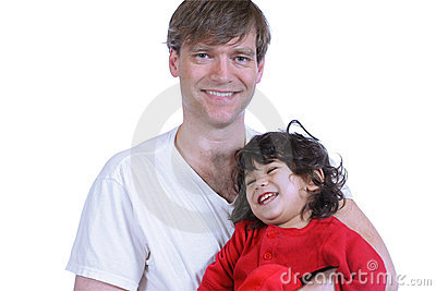 Handsome father holding his toddler
