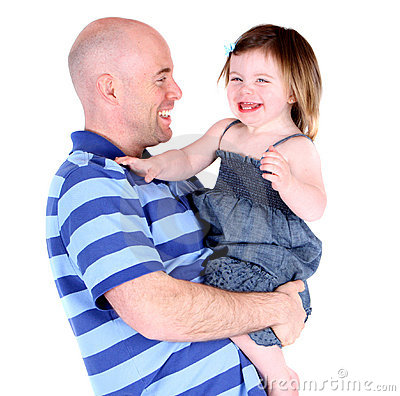 Handsome father sharing a laugh with toddler child