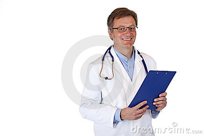 Handsome friendly physician holds medical record