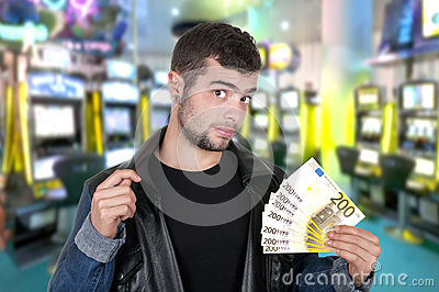 Handsome guy in a casino