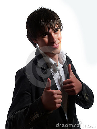 Handsome guy is giving two thumbs up