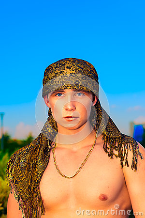 Handsome guy in headscarf