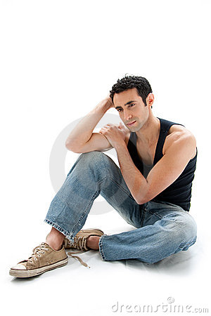Free Handsome Guy Sitting On Floor Royalty Free Stock Image - 8065046