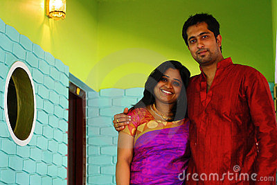 Handsome Indian Couple Inside Home