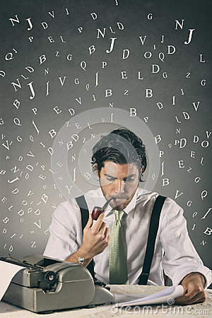 Free Handsome Journalist Surrounded By Words Stock Photography - 36804722