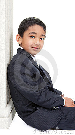 Handsome Little Boy in a Business Suit