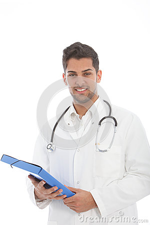 Handsome male doctor with a file