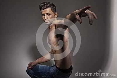 Handsome male model with trendy haircut